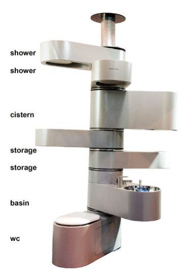 Vertebrae, il bagno verticale per piccoli spazi